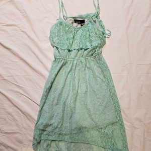 Mint high-low lace dress